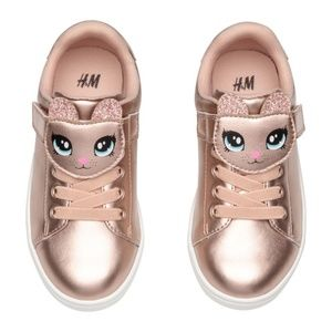 H&M Shimmery Metallic Sneakers Rose Gold 8US
